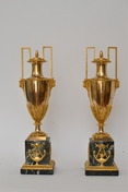 Pair of Empire gilt bronze and marble vases, Paris, ca.1810