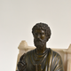 A bronze sculpture of St. Peter seated on a marble throne chair, 19th century after Arnolfo di Cambio (1245-1302) - Image 6