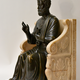 A bronze sculpture of St. Peter seated on a marble throne chair, 19th century after Arnolfo di Cambio (1245-1302) - Image 1