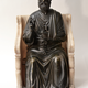 A bronze sculpture of St. Peter seated on a marble throne chair, 19th century after Arnolfo di Cambio (1245-1302) - Image 2