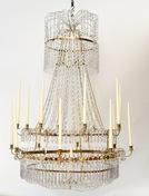 A Large Swedish Gilt-Metal and Cut-Glass Chandelier, circa 1800