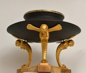 A Rare Swedish Brazier Shaped Bronze Urn On A Carved Gilt Wood Stand, Ca.1805.