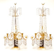 A Pair Of Swedish 18th Century Gustavian Crystal And Gilt Bronze Candelabra With White Marble And Faux Porphyry Bases.