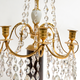 A Pair Of Swedish 18th Century Gustavian Crystal And Gilt Bronze Candelabra With White Marble And Faux Porphyry Bases.  - Image 5