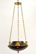 An Unusual Patinated and Gilt-Bronze Swedish Empire Chandelier In The Egyptian Style.  Ca. 1810-20