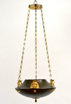 An Unusual Patinated and Gilt-Bronze Swedish Empire Chandelier In The Egyptian Style.  Ca. 1810-20 - Image 1