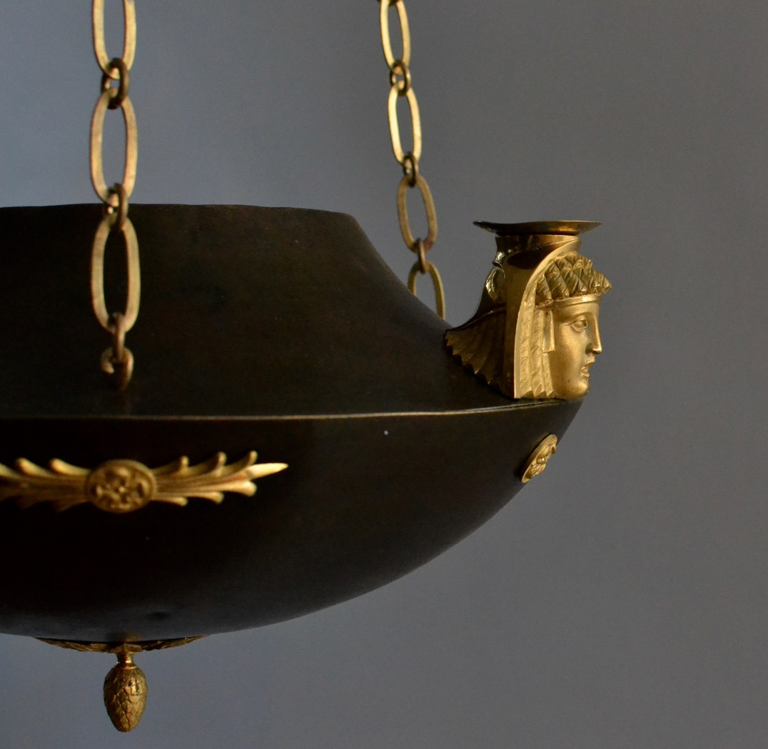 An Unusual Patinated and Gilt-Bronze Swedish Empire Chandelier In The Egyptian Style.  Ca. 1810-20 - Image 4