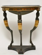 A Late Gustavian Gilt Wood Demi Lune Console Table With A Blue Turquin Marble Top, ca.1805