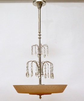 A Swedish Glass and Silvered Art Deco Ceiling Lamp, Circa 1930.   - Image 1