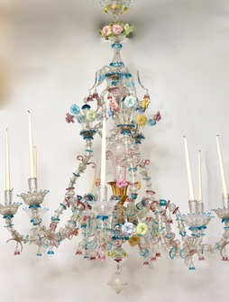 A Venetian Polychrome Murano Glass 8-Light Chandelier, 19th Century. - Image 1