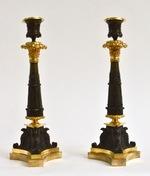 Pair of Gilt Bronze Empire Candlesticks, Ca. 1825