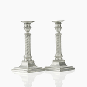 Pair of Swedish Gustavian Pewter Candlesticks by Wilhelm Helleday, 1799.