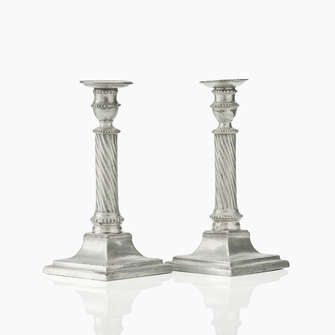 Pair of Swedish Gustavian Pewter Candlesticks by Wilhelm Helleday, 1799. - Image 1