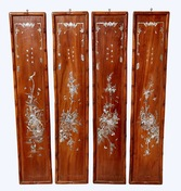 Set of Four Carved Chinese Wood Panels with Mother of Pearl Inlays