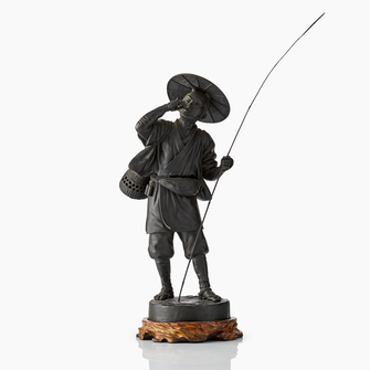 A Japanese Bronze Figure Of A Fisherman - Image 1