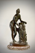 A 19th Century Patinated Bronze Sculpture Of A Standing Woman Signed Malvina Brach