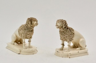 Pair of Ceramics Poodles, Probably England, 19th Century - Image 1