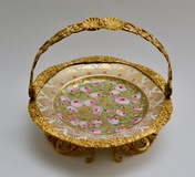 Cake Stand. Ormolu Mounted Painted Porcelain Plate With a Gilt Bronze Handle.19th Century