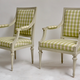 Pair of Gustavian Grey Painted Arm Chairs.  - Image 1