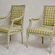 Pair of Gustavian Grey Painted Arm Chairs.  - Image 6