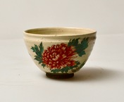 Japanese Glazed Tea Bowl With Floral Decoration