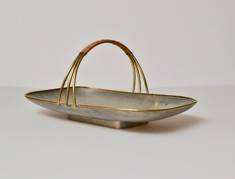 Svensk Tenn Pewter Cookie Dish With Handle, Mid 20th Century - Image 1