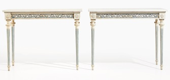 Pair of important gustavian console tables, 1790 - Image 1