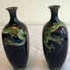 Pair of small Japanese cloisonné vases - Image 6