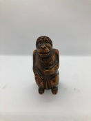 Snuff box carved of wood in the shape of a monkey