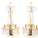 A Pair Of Swedish 18th Century Gustavian Crystal And Gilt Bronze Candelabra With White Marble And Faux Porphyry Bases.  - Image 2