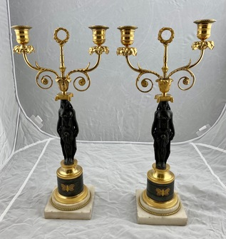 Pair of late 18th c candelabra - Image 1