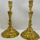 Pair of 18th century candlesticks, brass - Image 1