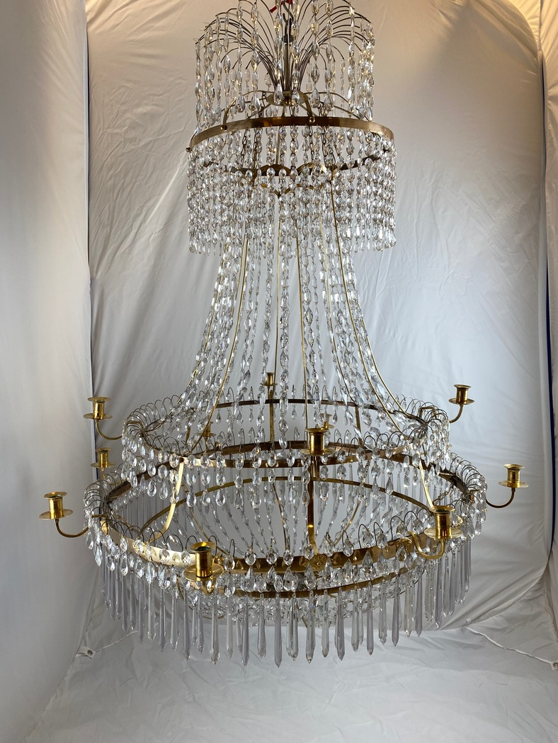 Important pair of Swedish Gustavian chandeliers made around year 1800. - Image 4