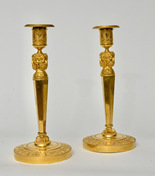 Pair of Gilt Bronze Empire Candlesticks, Paris ca. 1805-10
