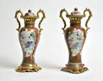 Pair of Chinese Ormolu Mounted Porcelain vases. 18th century.  - Image 1