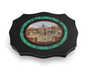 An Italian 19th century micromosaic paper weight with view of St Peter's square, Rome