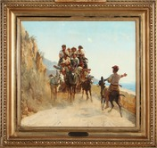 Scenic view by Simon Simonsen from the Bay of Naples with villagers on a wagon traveling on a coastal road.