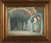 Ruins of a monastery courtyard, watercolor signed and dated by Harald Conrad Stilling 1865.
