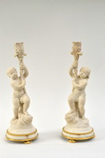 A Pair Of French White Marble Candlesticks With Gilt Bronze Mounts, 18th Century