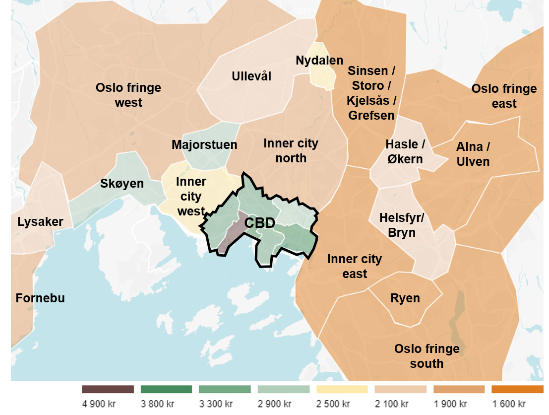 Office rent levels for high quality office space (NOK per sqm)