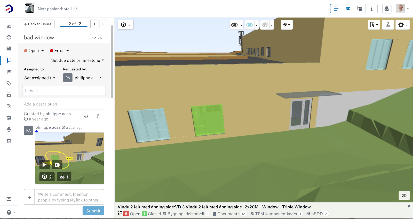 Issue management workflow in Bimsync: integrated discussion thread and contextual 3D view