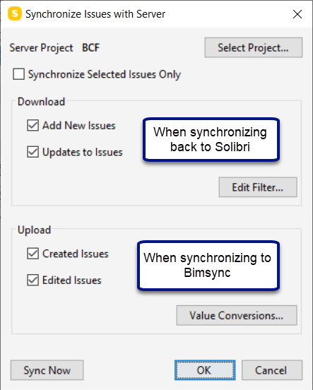 Issues synchronization between Solibri and Bimsync