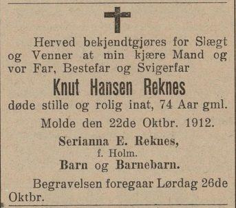 Dødsannonsa til Knud Hansen Nesje i Romsdals Budstikke, 1912.