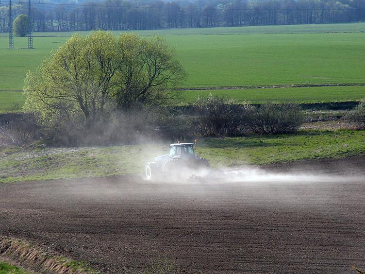 Traktor harvar på stort fält.