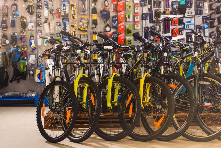 new modern bicycles selling in bike shop