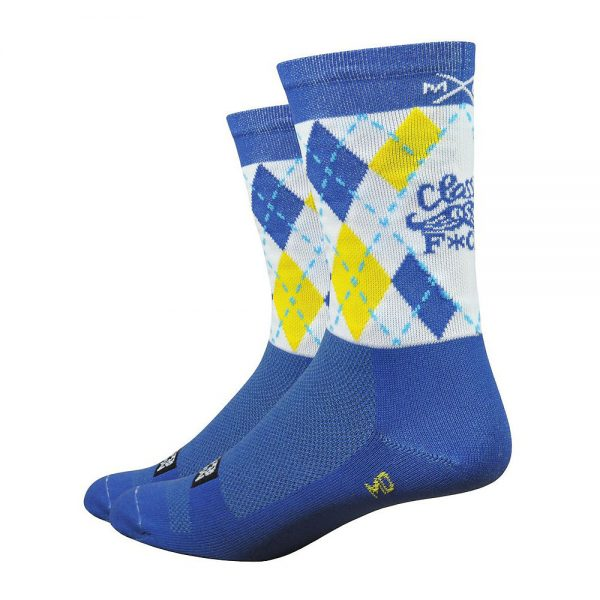 "Defeet Aireator 6"" Moxy & Grit Classy AF Socks - L - Blue, Blue"