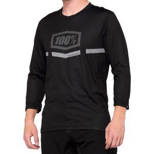 100% Airmatic 3-4 Sleeve MTB Jersey - M - Black, Black
