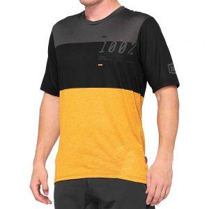 100% Airmatic MTB Jersey - S - Black-Mustard, Black-Mustard