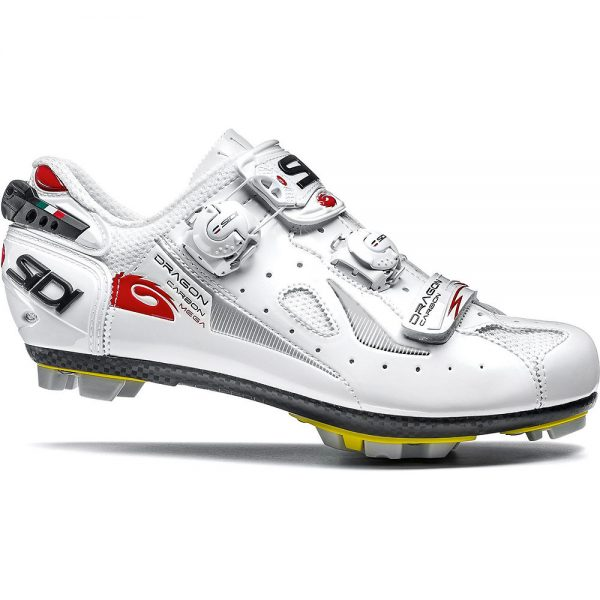 Sidi Dragon 4 SRS Carbon MTB Shoes (Mega Fit) - EU 48 - White - White, White - White