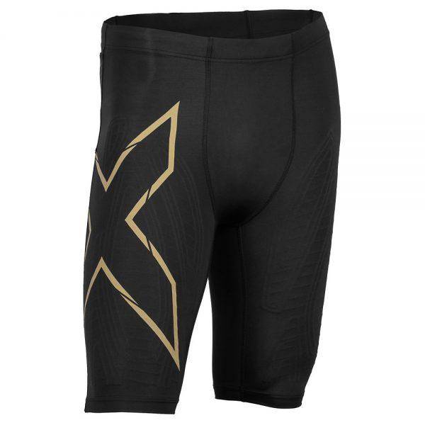 2XU MCS Run Compression Shorts - S - Black-Gold, Black-Gold